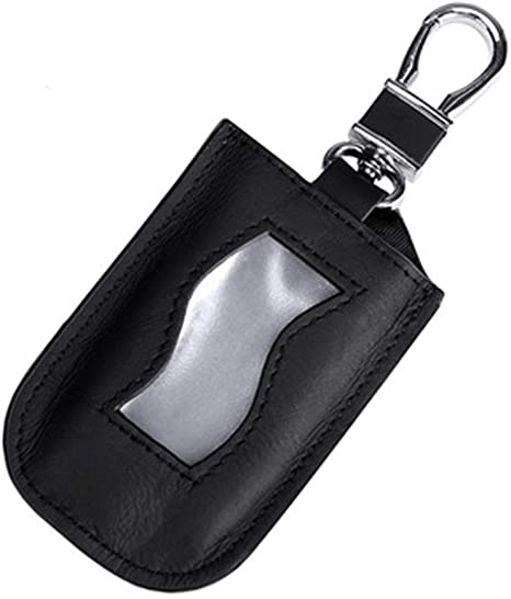 Black Leather Car Key Chain Bag Coin Wallet Remote Fob Case Holder with Zipper