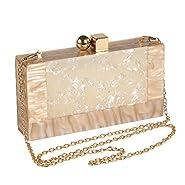 Menurra Women Acrylic Evening Clutch bag Glitter Marble Purse Handbag for Wedding Cocktail Party Prom
