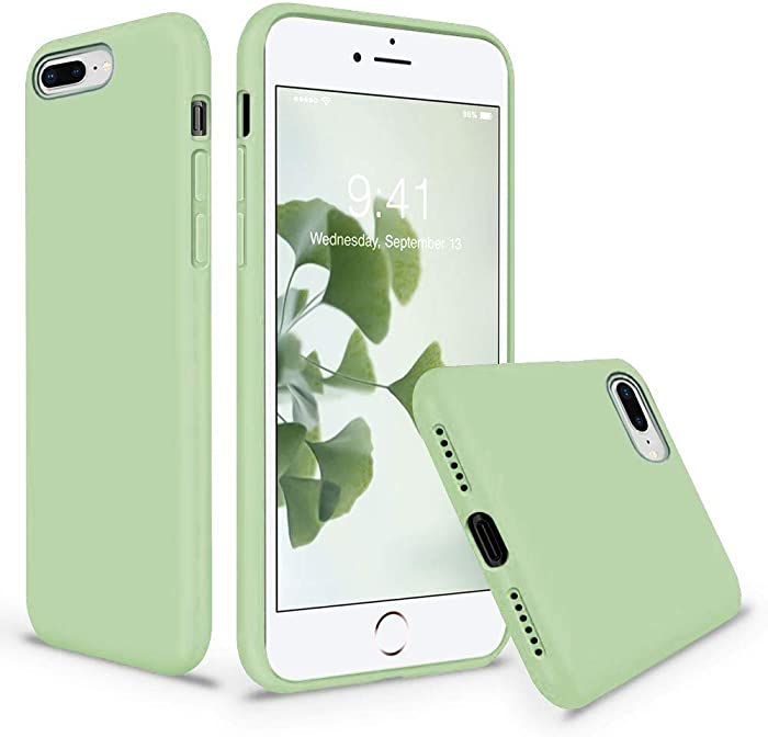 Vooii iPhone 8 Plus Case, iPhone 7 Plus Case, Soft Silicone Gel Rubber Bumper Case Microfiber Lining Hard Shell Shockproof Full-Body Protective Case Cover for iPhone 7 Plus /8 Plus - Matcha