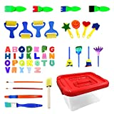 LumsBright 48pcs Kids Art & Craft Early Learning Painting Sponges Stamp Mini Paint Brushes Kit 26 English Alphabets Drawing Tools (Storage Box)
