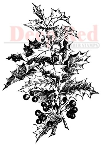 (Deep Red Stamps Holly Branch Rubber Stamp)