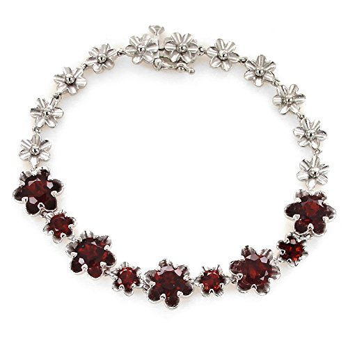 UP LINK Women's Corundum 925 Sterling Silver Rhodium Plated Birthstone Bracelets Deep Red by UP LINK