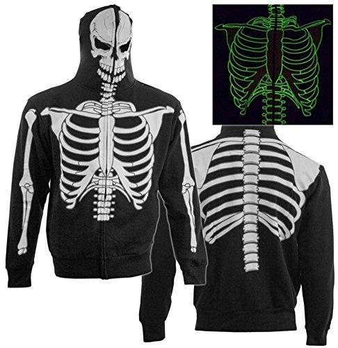 Calhoun Men's Glow in The Dark Skeleton Costume Zip Hoodie (Black, Large)