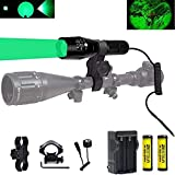 BESTSUN Green Light 350 Yards Predator Light Zoomable Tactical Hunting Green Led Flashlight Coyote Varmint Hunt Torch with Pressure Switch, Rail & Scope Mounts, Batteries and Charger