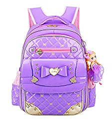 Bowknot Rhinestone Kids School Purple S Backpack