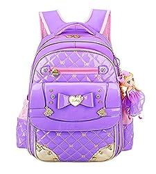 Bowknot Rhinestone Kids School Purple Backpack