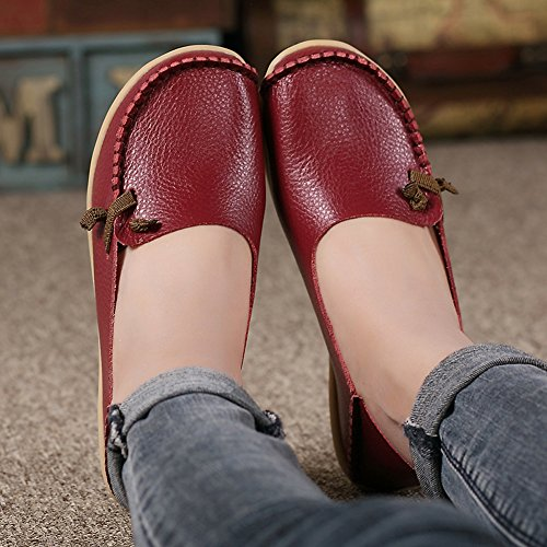 Lucksender Damen Weichleder Comfort Driving Loafers Schuhe Weinrot