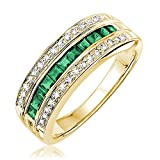 14K Gold Diamond and Genuine Emerald Ring (0.15TDW G-H Color,I1 Clarity) Size 6.5 (emerald)