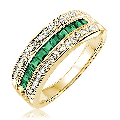 14K Gold Diamond and Genuine Emerald Ring (0.15TDW G-H Color,I1 Clarity) Size 6.5 (emerald) by Jewels by Erika