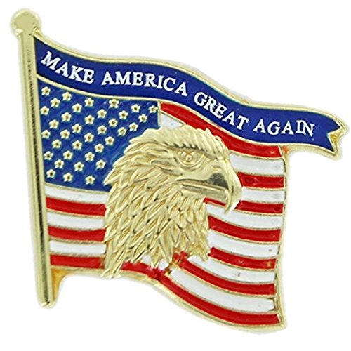 Patriotic Gold Tone Enameled United States Flag Lapel Pin, 1 1/8 - Tie Pin Hat Lapel