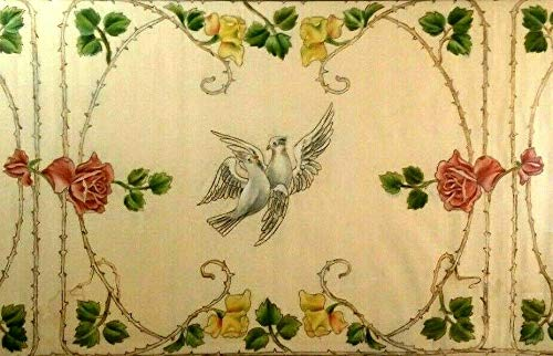 StandardPictureFrames Antique Belle Epoque Painted Fabric Tapestry Thorny Roses & Doves Framed!