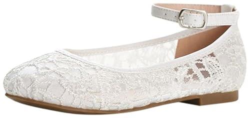 c770a145703a4 David's Bridal Flower Girl Crochet Lace Ballet Flats Style BHARPER4