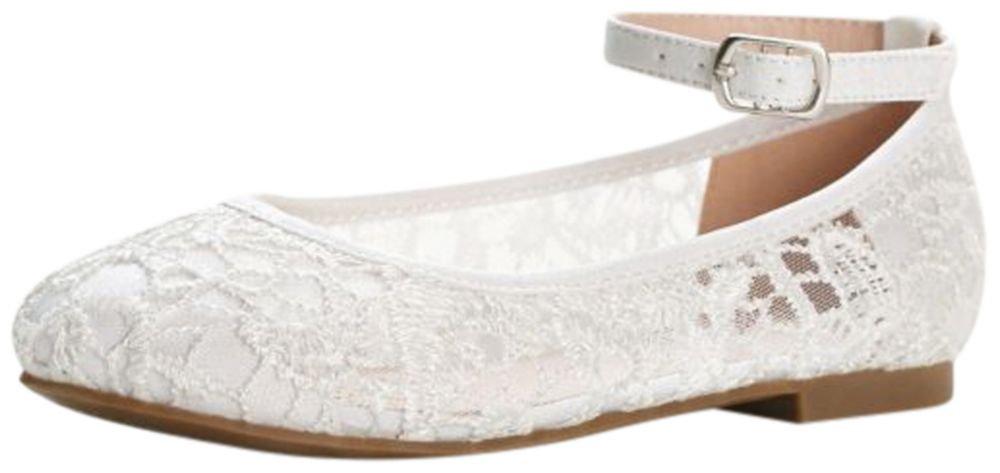 David's Bridal Flower Girl Crochet Lace Ballet Flats Style BHARPER4, White, 1