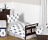 Sweet Jojo Designs 5-Piece Navy Blue White and Gray Woodland Deer Print Boys Toddler Bedding Comforter Sheet Set