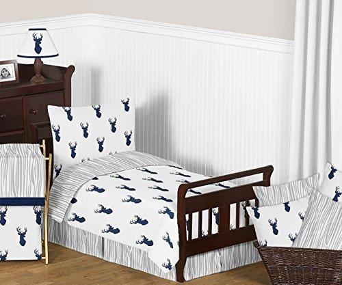Sweet Jojo Designs 5-Piece Navy Blue White and Gray Woodland Deer Print Boys Toddler Bedding Comforter Sheet Set