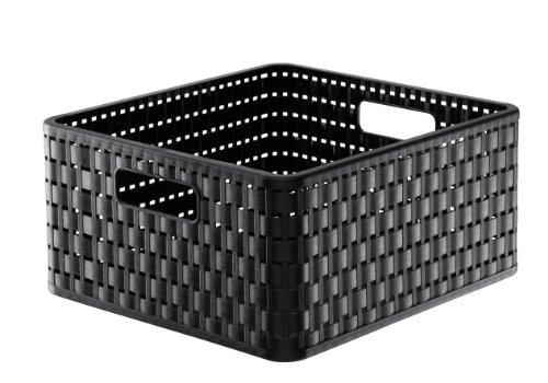 Rotho 1116808080 Aufbewahrungskiste Dekobox Country in Rattan-Optik aus Kunststoff (PP), quadratisch, Inhalt ca. 14 l, ca. 32.8 x 30 x 16 cm (LxBxH), schwarz