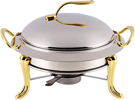 Silver Accented Chafer Pack of 3 Round Chafing Dish Buffet Warmer Set With Lid