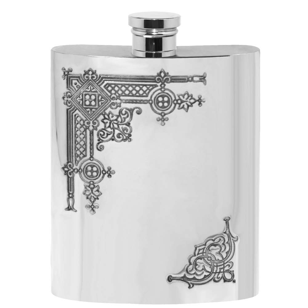 English Pewter Company 6oz Victorian Patterned Traditional Liquor Hip Flask [SF263]