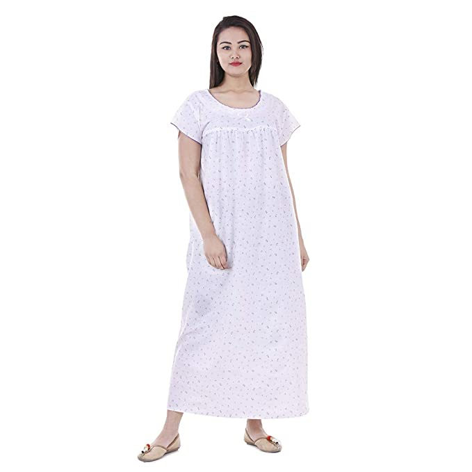 fe2e7983e8a8 Amazon.com  Floral Cotton Maxi Dress Short Sleeves Nightwear Comfy ...