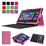 Fintie Folio Case for Microsoft Surface RT / Surface 2 10.6 inch Tablet Slim Fit with Stylus Holder (Does Not Fit Windows 8 Pro Version) - Polka Dot Magenta