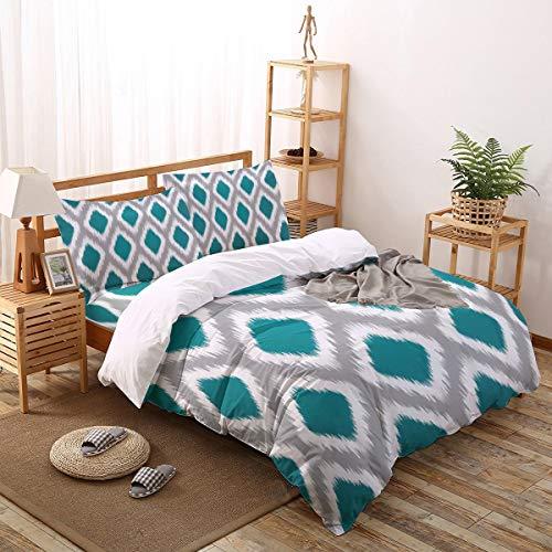 - Full Bedding 4 Piece Art Duvet Cover Set, (1 Comforter Cover + 1 Sheet + 2 Pillowcase), Comfortable Hypoallergenic - Abstract Blurred Fuzzy Rhombus Diamonds Geometric Pattern