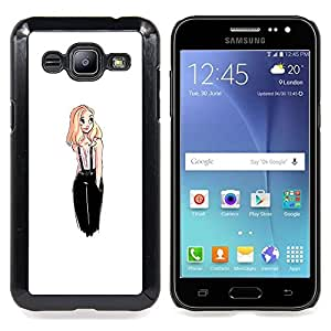"For Samsung Galaxy J2 / J200 Case , De diseño de moda Rubio polluelo Mujer Blanca"" - Diseño Patrón Teléfono Caso Cubierta Case Bumper Duro Protección Case Cover Funda"