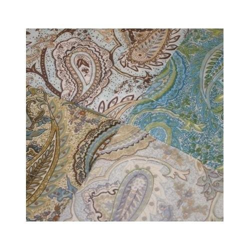 Full/queen Reversible Cotton Quilt Vintage Paisley Earth Tones Green Beige Blue Patchwork with Shams