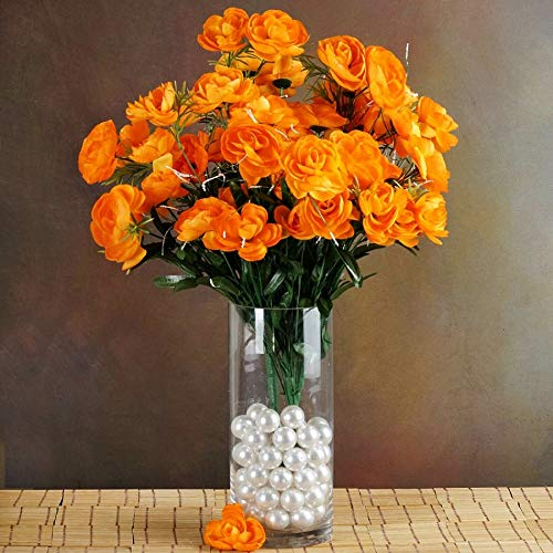72 PCS Artificial Ranunculus Flowers for Wedding Supplies Party 4 Bushes TkFavort (Orange)