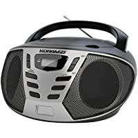 KORAMZI Portable CD Boombox with AM/FM Radio,AUX IN,Top Loading CD Player,Telescopic Antenna, LCD Display for Indoor & Outdoor,Offices,Home,Restaurants,Picnics,School , Camping (Black/Silver) CD55-BKS