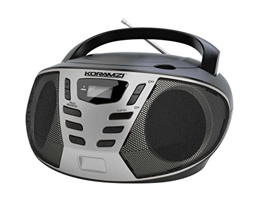 Outdoor Lcd Display (KORAMZI Portable CD Boombox with AM/FM Radio,AUX IN,Top Loading CD Player,Telescopic Antenna, LCD Display for Indoor & Outdoor,Offices,Home,Restaurants,Picnics,School , Camping (Black/Silver) CD55-BKS)