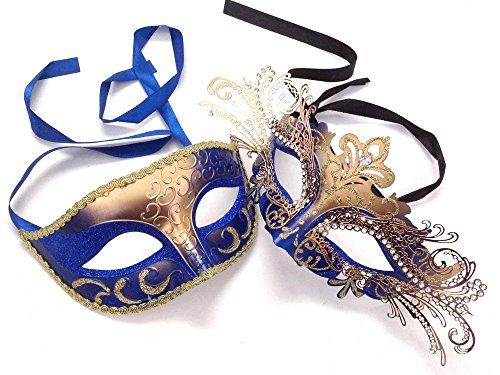 MASQSTUDIO Gold Blue Masquerade Ball Mask Pair Dance Prom Burlesque Graduation Steampunk -