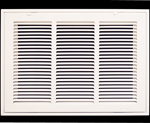 "18"" X 12 Steel Return Air Filter Grille for 1"" Filter - Fixed Hinged - Ceiling Recommended - HVAC Duct Cover - Flat Stamped Face - White [Outer Dimensions: 20.5 X 13.75]"