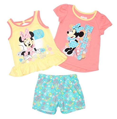 Minnie Mouse Disney Toddler and Little Girls' Sitting Pretty 3 Piece Short Set (3T) by Minnie Mouse