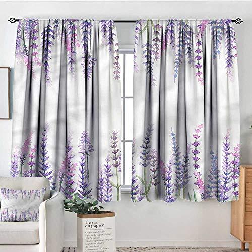 PriceTextile Purple,Decor Curtains Lavender Aromatic Shrubs 52