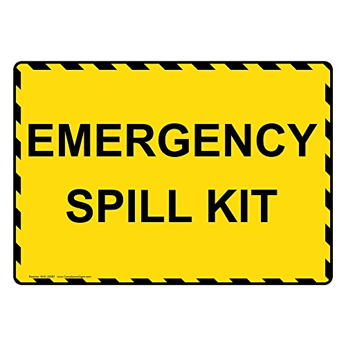 Emergency Spill Kits (ComplianceSigns Vinyl Emergency Spill Kit Labels, 5 x 3.50 in. with English Text, Yellow, pack of 4)