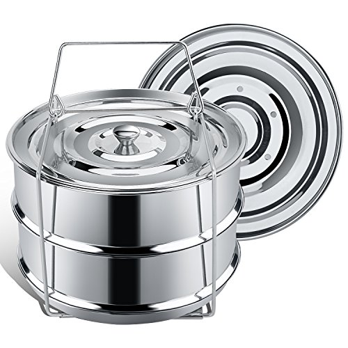 Stackable Steamer Insert Pans for Instant Pot Accessories 6/8 qt - SECITE Stainless Steel Food Steamer for Pressure Cooker,Baking, Reheating - Two Interchangeable Lids Included (Pot Stackable)