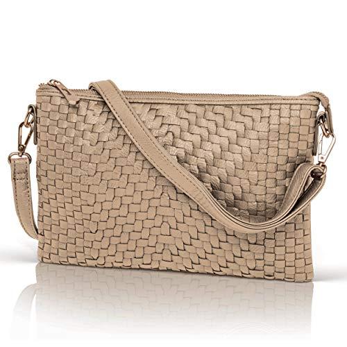 Rose Gold Crossbody Bag for Women - Woven Faux Leather Clutch Purse Wristlet