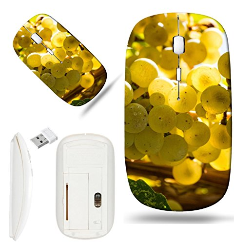 Luxlady Wireless Mouse White Base Travel 2.4G Wireless Mice with USB Receiver, 1000 DPI for notebook, pc, laptop, macdesign IMAGE ID: 22229088 Close up bunch of sun lit Riesling white wine grapes hang