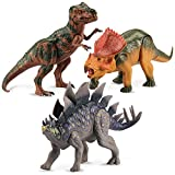 Kid Galaxy Poseable Dinosaur Figure Toy Playset. Tyrannosaurus Rex T Rex, Stegosaurus, Protoceratops Moving Figurine for Kids Age 3+