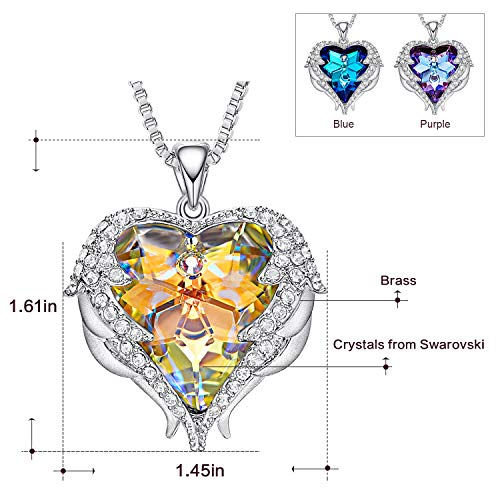 CDE Swarovski Necklaces Heart Crystal Jewelry Locket Pendant Silver Necklaces Women Birthstone Gifts by CDE (Image #6)