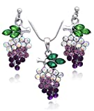 cocojewelry Purple Lavdender Crystal Grapes Fruit Charm Jewelry Set