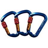 Climbing Gear Aluminum Screw Carabiner 3 Pack, AYAMAYA Locking Climbing Carabiners, Ultra Tech 30KN Aluminum Screwgate Carabiner Screw Lock D-ring Chain Clip Hook Outdoor Buckle for Rope Tree Climbing