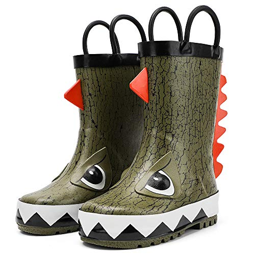 hiitave Kids Toddler Waterproof Rubber Rain Boot for Boys Girls with Easy Pull On Handles Olive/Dinosaur 11 M US Little Kid