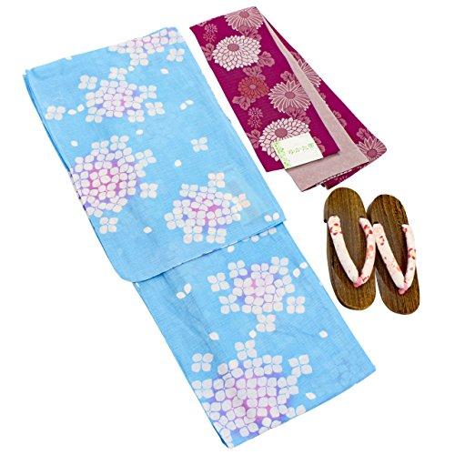鎮痛剤ポーチダイエット浴衣 レディース 水色 アジサイ柄 福袋3点セット フリーサイズ N1660
