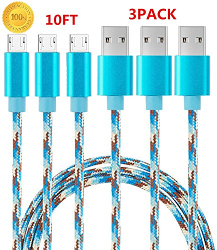 Sogola Micro USB Cable, Nylon Braid High Speed 2.0 USB to Micro USB Charging Cables Android Fast Charger Cord for Samsung Galaxy S7 Plus/S6,Note 5/4,HTC,LG,Tablet - (Blue Camo) - (3Pack 10ft)