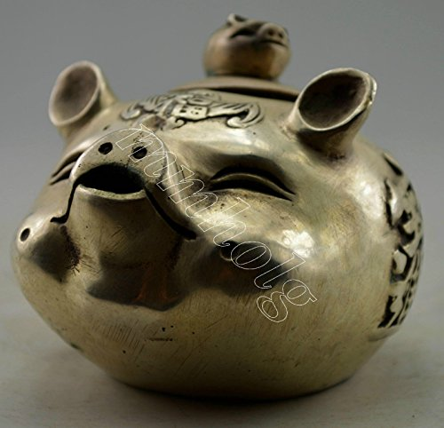Asia Collectible Decorated Old Handwork Silver Plate Copper Carved Lovely Pig Tea Pot