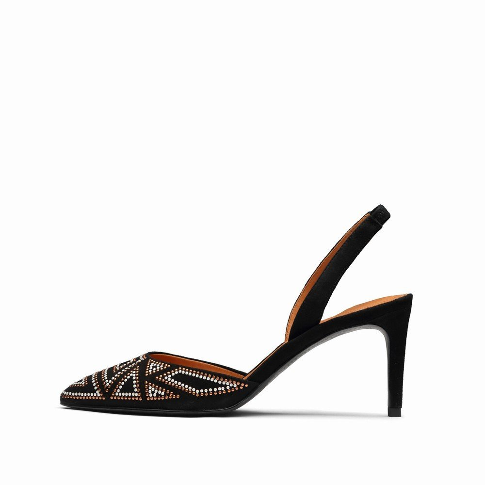 DHG Sleek Minimalistischen Zurück Stiletto Heel Sandaletten EIN 38