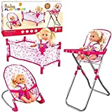 Rexco Childrens Kids Deluxe 3 in 1 Baby Dolls Folding Cot Bed Pillow Cover Bouncer High Chair Accessories Pretend Role Play Toy Game Set Without Doll Girls Xmas Gift