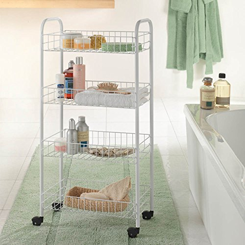 -[ Metaltex Plastic Coated Pisa Rolling Cart, 4 Baskets  ]-