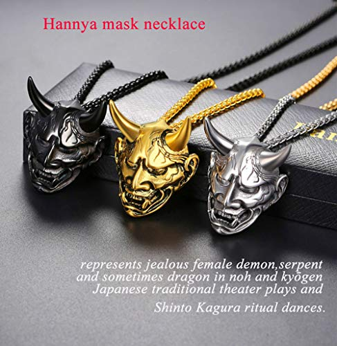 U7 Men Gothic Jewelry Stainless Steel Silver Black Evil Demon Horn Skull Pendant Necklace
